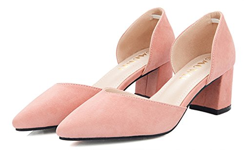 Aisun Femme Simple Slip On Talons Bloc Escarpins Rose