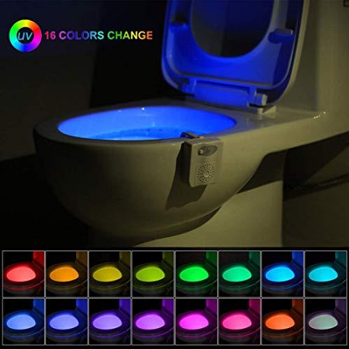 iBetterLife - Luce notturna per WC con sterilizzatore UV, 16 colori cangianti, con sensore di movimento
