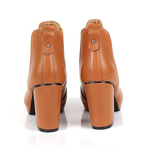 Mesdames Femmes Casual Tirez sur élastique antidérapant Mid talon bloc Chelsea Cheville Bottes Chaussons Chaussures Taille multicouleur - PU caramel