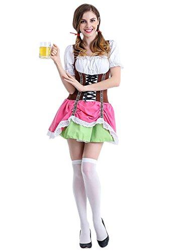 KINDOYO Damen Oktoberfest Halloween Parteien Kostüm Bier Maid Uniform Cosplay Outfit Frech Kleid mit 5 Arten, Stil-5/L (Bier-halloween-kostüme)