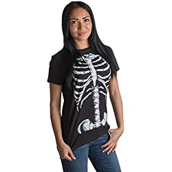 Ann Arbor T-shirt Company Camiseta de Halloween para Mujer - Diseño de Esqueleto Grandes Negro - Grandes - L