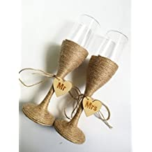 Boda rústico boda vasos copas de champán copas de tostado, Mr & Mrs novia y