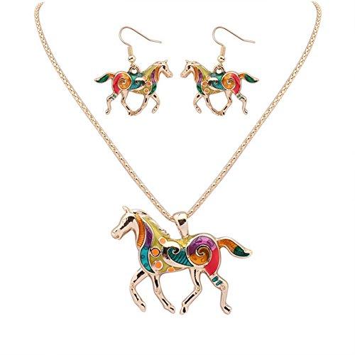 Monbedos Frauen Halskette Ohrringe Set Regenbogen Pferd Anhänger Halskette und Ohrringe für Bankett Party Fashion gold