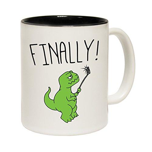 Dinosaurio selfie por último T-Rex taza de cerámica lema divertida taza, cerámica, negro
