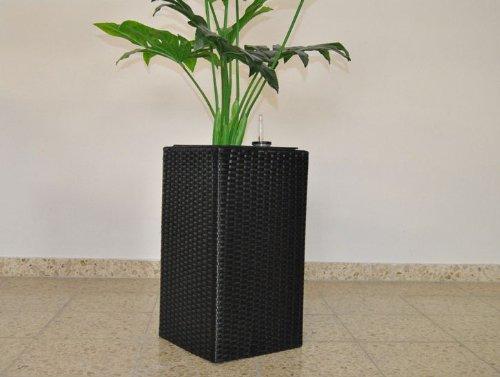 Blumenkübel Pflanzkübel Blumentopf Übertopf Polyrattan Säule LxBxH 30x30x80cm schwarz.