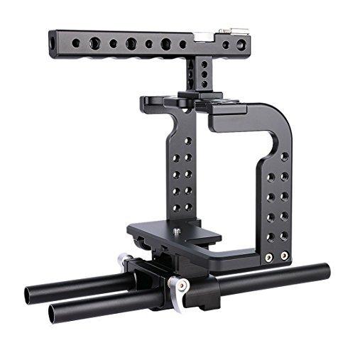 Annsm New video professionale gabbia per fotocamera Panasonic Lumix GH5e compatibile con GH4/GH3telecamere con Aviation lega di alluminio Materiale nero