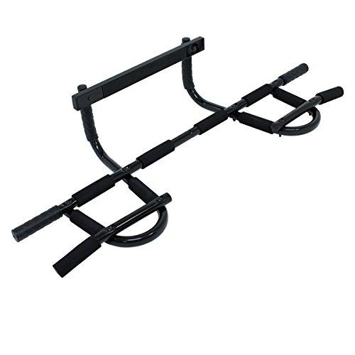 ECD Germany Barre de traction Barre de musculation en acier avec poignées de revêtement en mousse et caoutchouc Capacité 120kg
