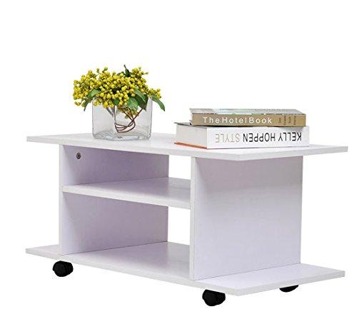 Homcom - Mesa armario móvil mueble de tv tele de madera con ruedas color blanco nuevo