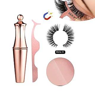 Magnetic Eyeliner Set Magnetic Eyelashes Kit Wasserdichter, langlebiger Eyeliner mit falschen Wimpern Magnetic Eyeliner Zur Verwendung mit magnetischen falschen Wimpern (Doha-5)