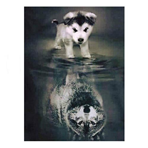 Wolf Tier Heim 5D Diamant Malerei Kreuzstich Diamant Stickmuster Dekorative Strass Mosaik Handwerk, 40 * 50 cm ()