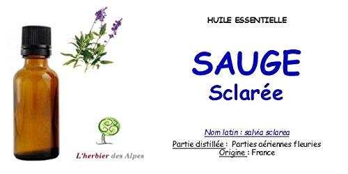 Huile essentielle de Sauge sclarée (30 ml).'Salvia sclarea'