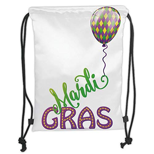 ack Backpacks Bags,Mardi Gras,Illustration of Cartoon Mardi Gras Color Balloon with Swirl Ribbon Decorative,Purple Green Yellow Soft Satin,5 Liter Capacity,Adjustable String ()