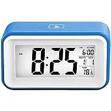 Reloj-despertador digital, táctil, inteligente, con alarma de repetición, de viaje, tecnología de sensor, pantalla grande, con información del tiempo, la fecha, la temperatura