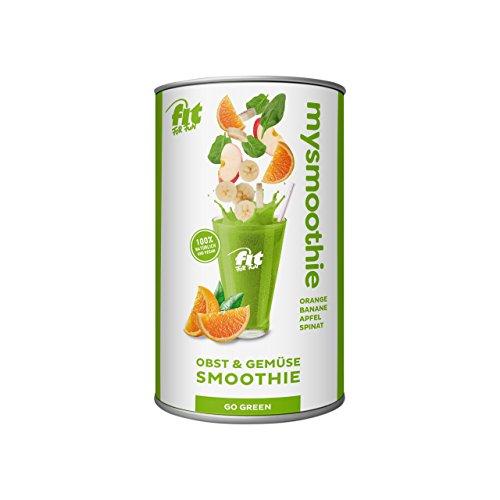 MySmoothie Fit For Fun Obst & Gemüse Smoothie Go  Green, Smoothie-Flakes für 5 bis 7 Portionen, 1er Pack (1 x 120 g) Go Go Gemüse