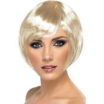 New Ladies Glamour Fancy Dress Party Babe Wig Short Bob With Fringe Headwear