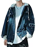 Snone Hommes Veste en Jean Denim Veste De Style Coréen Trou De Mode Slim Fit Veste De Baseball Beau Sweat À Capuche Vintage Denim De Sweat Veste Fonctionnelle Veste Décontractée