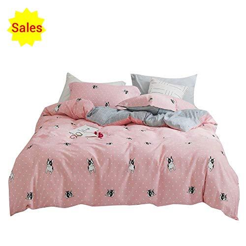 ORoa Cartoon Kids Animal Print Bettbezug Twin Queen, Kinder Satin Bettwäsche Sets für Mädchen Jungen Frauen, baumwolle, hund, Twin (1 Duvet Cover + 2 Pillowcases) (Kinder Queen Bettbezug)