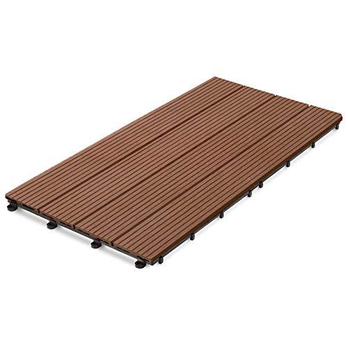 Dalle terrasse casa pura bois composite | revêtement extérieur ou intérieur | clipsable | tailles et couleurs au choix | Royal - marron clair, 60x30cm - 11 pièces