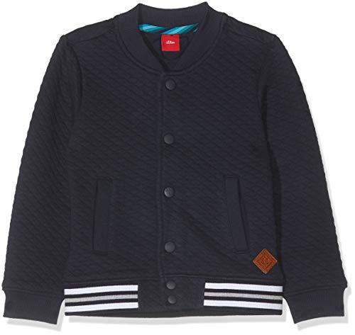 s.Oliver Jungen 63.908.43.3406 Sweatjacke, Blau (Dark Blue 5952), (Herstellergröße:116/122/REG) - Kinder Sweatshirt Strickjacke