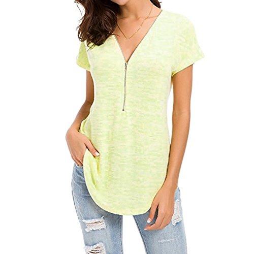 SANFASHION Tops Damen Loose Fitting Reißverschluss V-Ausschnitt Kurzarm Tunika Casual T-Shirt Bluse (Tassel-tool)