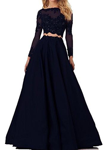 Bainjinbai Damen Lang Spitze Zwei-teilig Abendkleider Brautjungfernkleider Cocktail Ballkleider Navy UK10