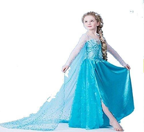 Vogueeasy Prinzessin Eiskönigin Kostüm Kinder Glanz Kleid Mädchen Weihnachten Verkleidung Karneval Party Halloween Fest Kostüm 110