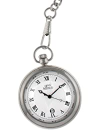 gino franco Men's 990SL Round Stainless Steel Silver Dial Pocket Watch