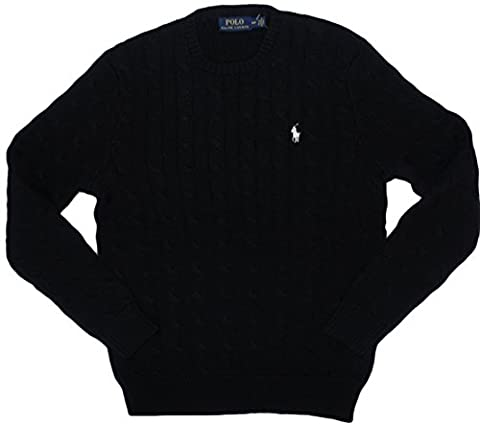 Polo Ralph Lauren Men's Pony Cable Knit Crewneck Sweater - Black -