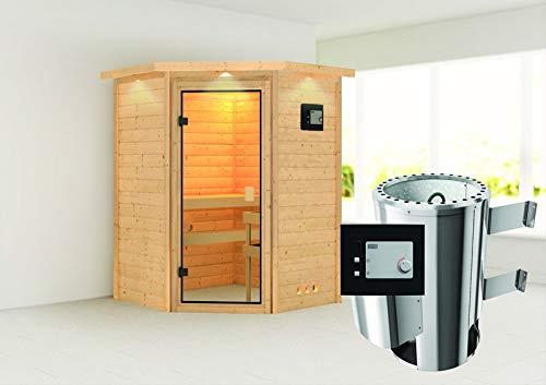 Alicja - Karibu Sauna Plug & Play inkl. 3,6 kW-Ofen - mit Dachkranz -