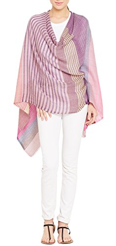 ShalinIndia 100 % Wool Scarf For Women Fashion Accessory Indian 27 X 70 Inch,Multicolor,Pink,115 Grams