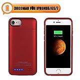 Mbuynow Magnetische Powerbank für iPhone 6 Ultra dünn 3000mAh Akkuhülle für iPhone 6S Handy Schutzhülle mit Halterung für Vid