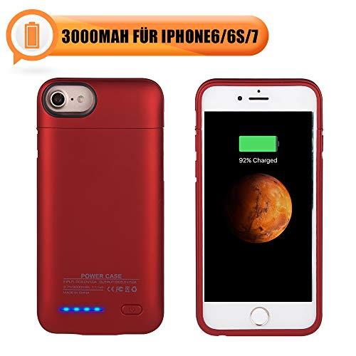 Mbuynow Magnetische Akkuhülle für iPhone 6 Portabler 3000mAh Powerbank für iPhone 7 Ultra dünn Schutzhülle mit Halterung und Magnet