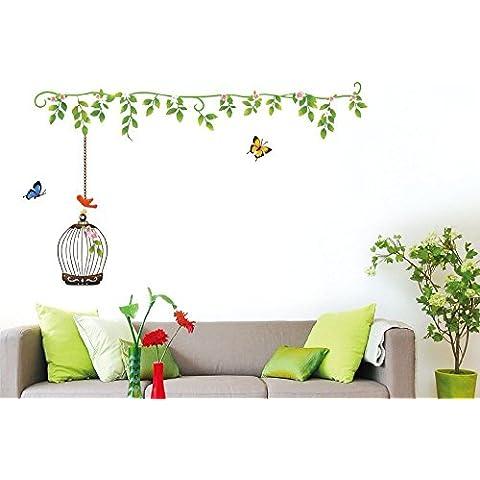 ufengke® Árbol de Vid Verde Hermosas Flores Jaula de Pájaro Mariposas Pegatinas de Pared, Sala de Estar Dormitorio Removible Etiquetas de La Pared / Murales