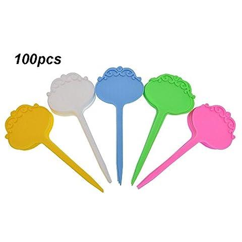 Kepmem Multicolore Lot de 100 Plastique Etiquettes de Jardinage Robuste Plantes Tags Marqueurs