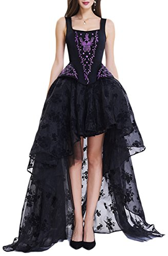 EmilyLe Mujeres Deshuesado Corsé Gótico Halloween Vestido Clubwear Fiesta Traje (XXL,Negro y púrpura)