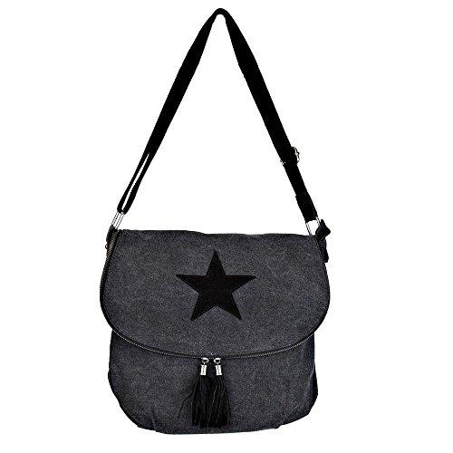 Borsa a tracolla borsa delle signore Stella Stella Jeans Beuteltasche Strass Applicazione Tela antico signore guardano con stelle, Colore:schwarz_2