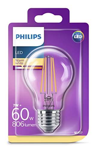 Transparent 7w Led (Philips LEDclassic Lampe ersetzt 60W, E27, warmweiß (2700 Kelvin), 806 Lumen)