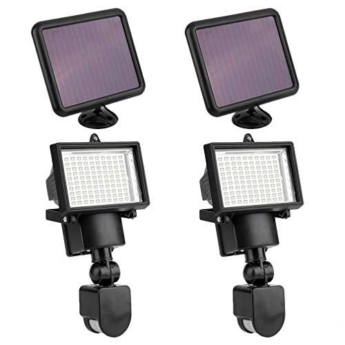 Solar Strahler 2er Set, 100 Led Solarlampen mit Bewegungsmelder - Wasserfest Solarleuchte Außen...