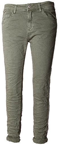 Basic.de Damen-Hose Skinny mit Kontraststreifen aus Metall-Perlen Melly & CO 8166 Khaki M