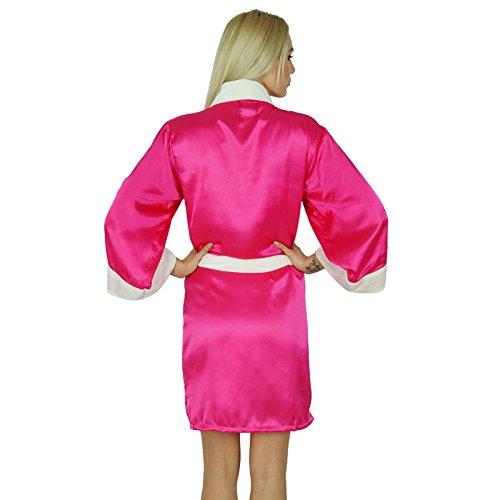 Bimba Frauen Kurz Satinrobe Velvet Gürtel Getting Ready Brautjungfer benutzerdefinierte Robe Coverup Rosa