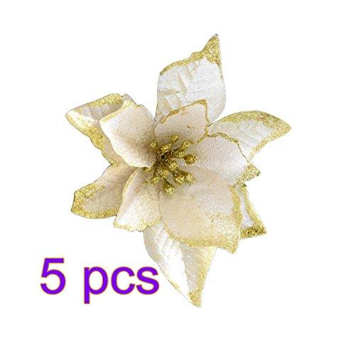 Fiori per albero di natale oulii fiori artificiali per la decorazione alberi e girlanda natale in bianca (5pcs)