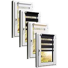 TEXMAXX Fensterrollo / Balkontür Rollo Duo-Rollo Sonnenschutz mit Kettenzug und Klemmfix ohne bohren in Weiss, Leisten in Weiss  - 40 x 150 cm - inkl. Zubehör