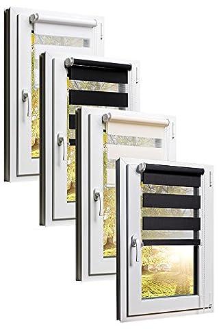 TEXMAXX Fensterrollo Duo-Rollo Doppelrollo Sonnenschutz mit Kettenzug und Klemmfix ohne bohren in WEISS, Leisten in Weiss - 45 x 150 cm - inkl. Zubehör