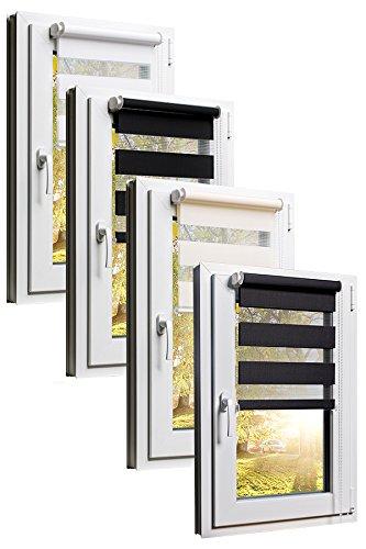 TEXMAXX Fensterrollo Duo-Rollo Doppelrollo Sonnenschutz mit Kettenzug und Klemmfix ohne bohren in WEISS, Leisten in Weiss - 100 x 150 cm - inkl. Zubehör