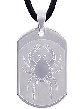 DonDon 50 cm Leder Halskette mit Edelstahl Sternzeichen Krebs Anhänger in schwarzem Samtbeutel