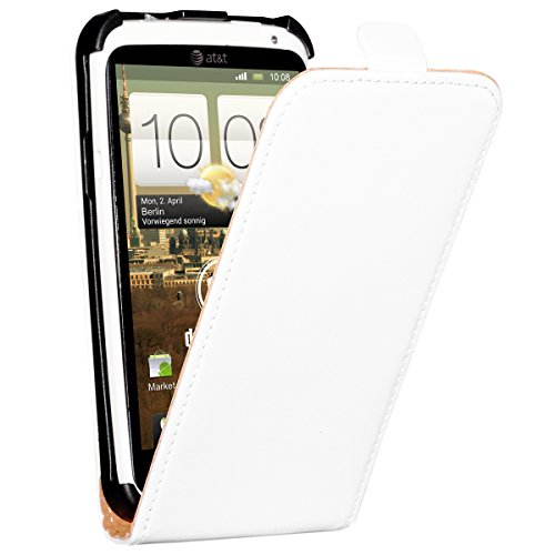 deinPhone HTC One X / XL/X+ beschichtetes Leder Flip Case Hülle Tasche Weiß