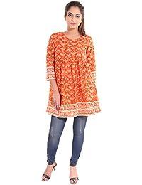 Gaurangi Women's Orange Peplum Tunic Top Short Kurti
