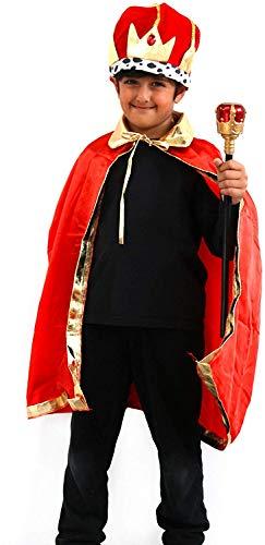 di Robelli - Costume da re per Bambini, 3 Pezzi, Corona, Mantello e Sceptre