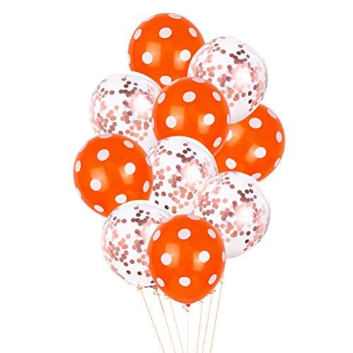 Toyvian Party Luftballons Orange Polka Dot Luftballons Konfetti Latex Ballon für Festival Party Versammlung Hochzeit (5 Stück Konfetti + 5 Stück Punkte) (Orange Polka Dot)