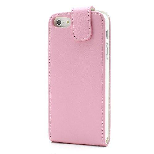 XAiOX Apple iPhone 55S Premium Flip verticale Custodia con chiusura magnetica incluso pellicola di protezione schermo in Rosa